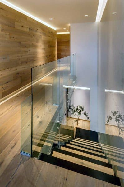 Excellent Interior Ideas Modern Led Lighting Wood Wall In Hallway