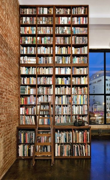 Excellent Interior Ideas Two Story Wood Floor To Ceiling Bookshelves