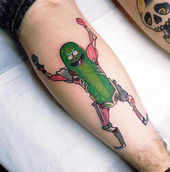 Excellent Leg Guys Pickle Rick Tattoos