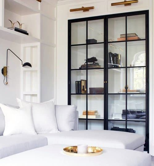 Excellent Modern Interior Ideas Built In Bookcase With Glass Doors