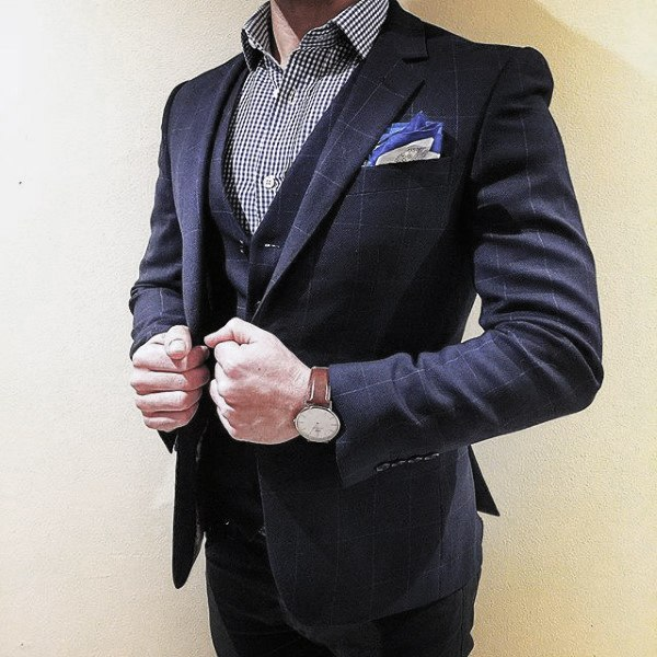 Excellent Navy Blue Suit Styles For Men With Striped Dress Shirt