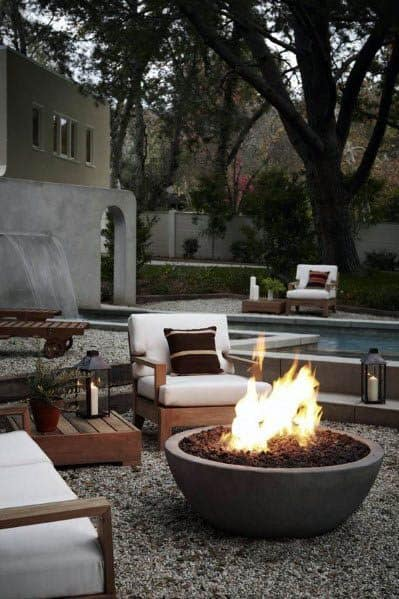 Excellent Outdoor Ideas Gravel Patio With Stone Circle Firepit
