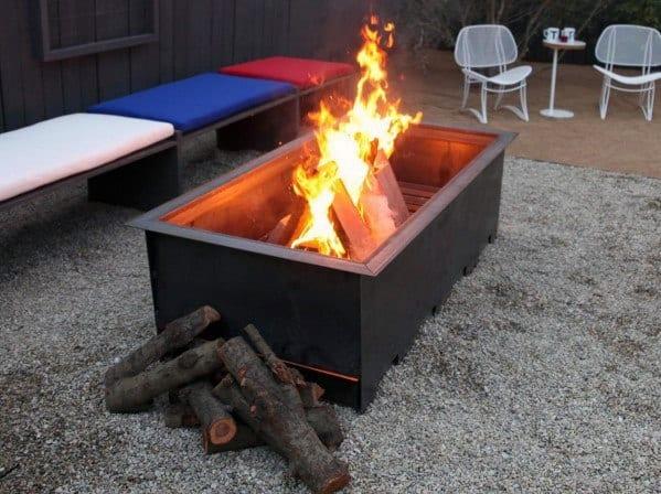 Excellent Rectangle Modern Backyard Ideas Metal Fire Pit