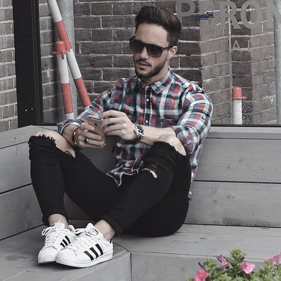 59d6425f6ee Excellent What To Wear With Black Jeans And Checkered Shirt Outfits Styles  For Men