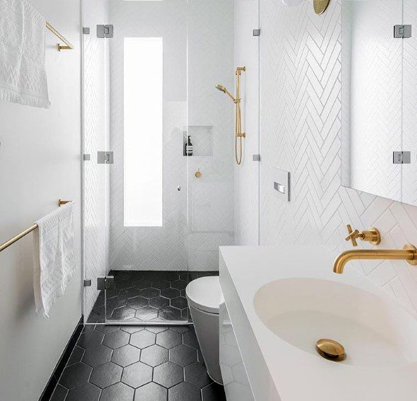 Exceptional Bathroom Backsplash Ideas White Herringbone Tile With Black Hexagon Flooring