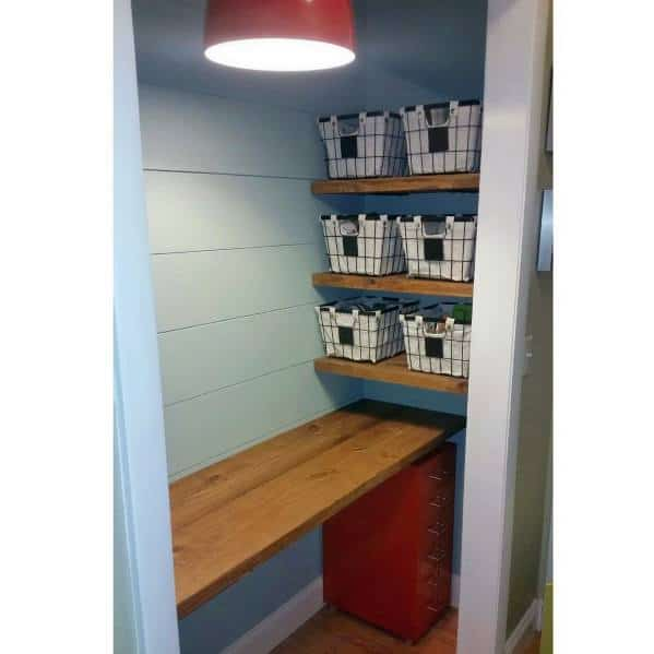 Exceptional Closet Office Ideas Shiplap Painted Walls