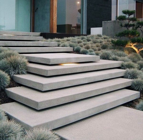 Concrete Stairs Design Ideas Home Stair Picture Exterior: Top 60 Best Concrete Walkway Ideas