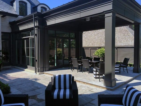 Exceptional Covered Roof Flagstone Patio Ideas