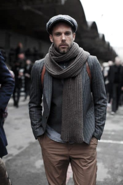 Exceptional Guys Styles With Casual Wear Chunky Grey Scarf And Tan Pants