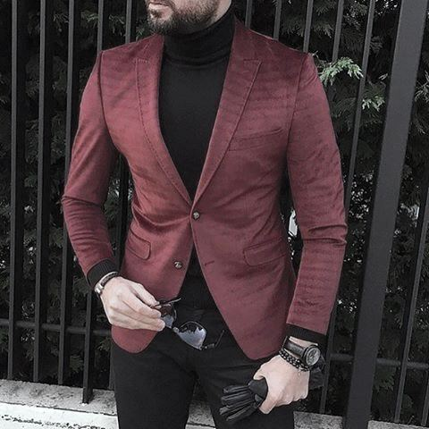 Exceptional Guys Styles With Trendy Outfits Burgundy Red Blazer With Black Turtleneck Sweater