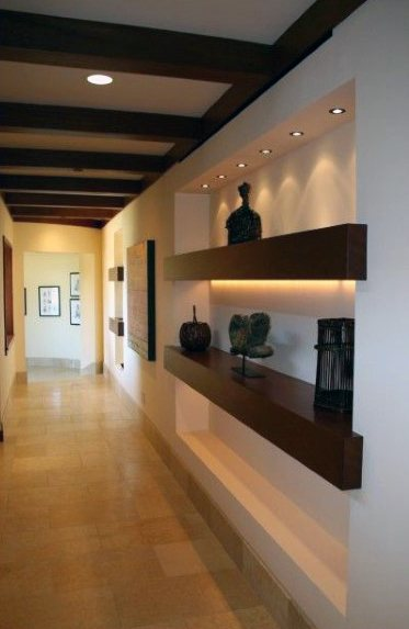 Exceptional Hallway Recessed Wall Niche Ideas With Double Wood Shelves