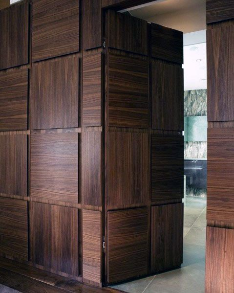 Exceptional Hidden Door Ideas Hardwood Squares Pattern Wall