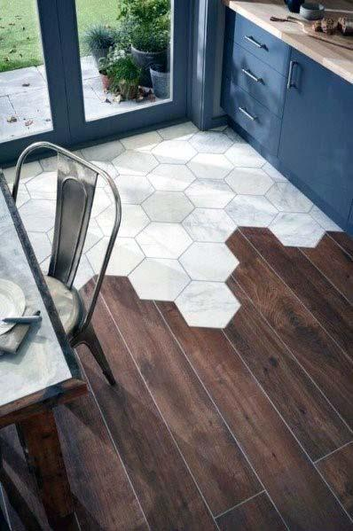 Exceptional Kitchen Tile Floor Ideas Hexagon Shapes With Hardwood