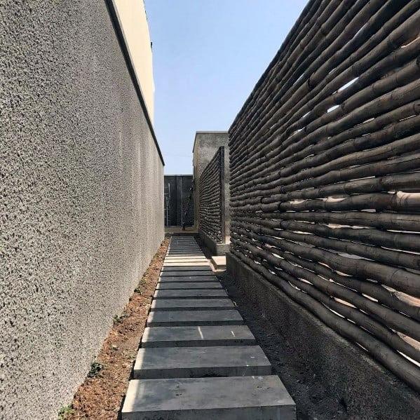 Exceptional Modern Horizontal Slat Bamboo Fence Ideas
