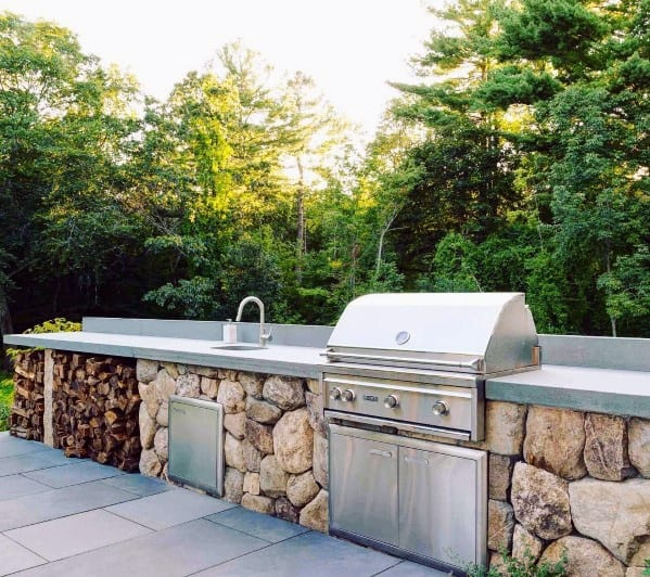 Exceptional Natural Rock Look Built In Grill Ideas
