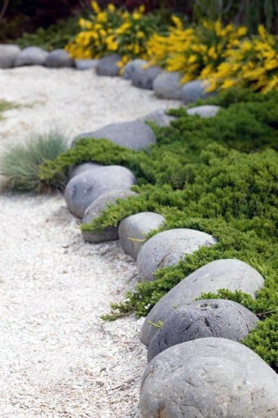 Exceptional Round Stones Landscaping Edging Ideas