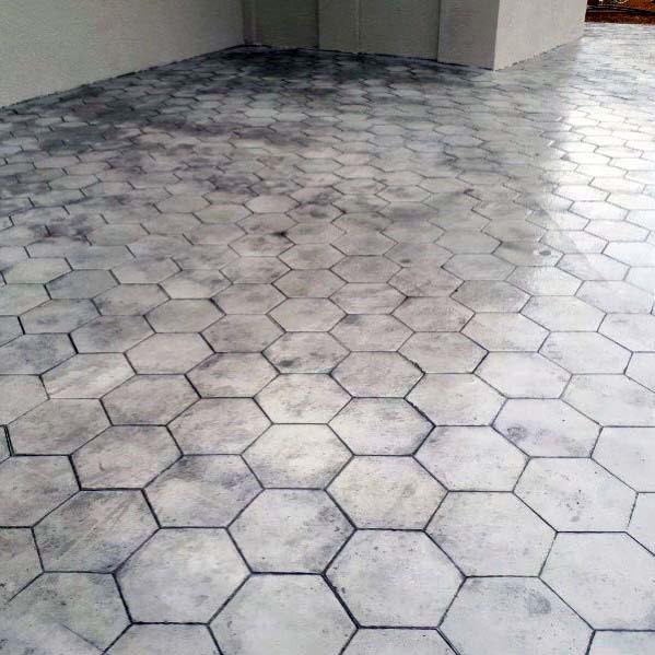 Exceptional Stamped Concrete Patio Ideas Hexagon Pattern