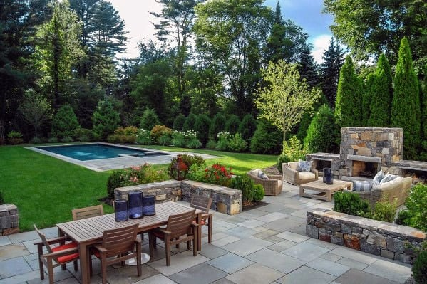 Exceptional Stone Patio And Pool Landscaping Ideas
