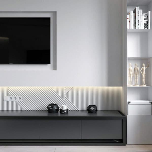 Exceptional Television Wall White And Black Modern Ideas