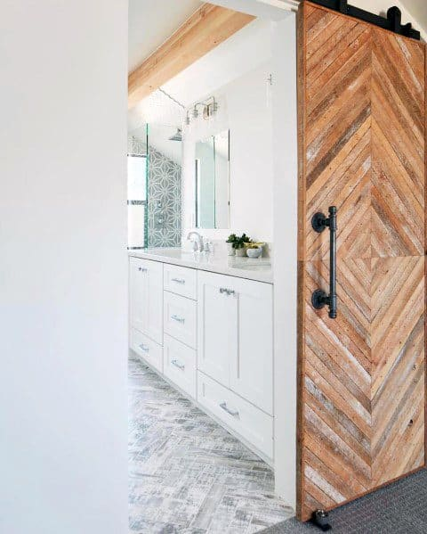 Exceptional White Bathroom Ideas Wood Barn Door Entrance