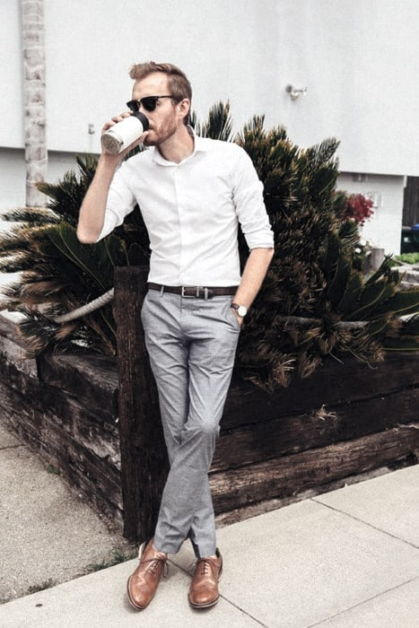 Exceptional White Dress Shirt Brown Dress Shoes Guys Styles Business Casual Outfits