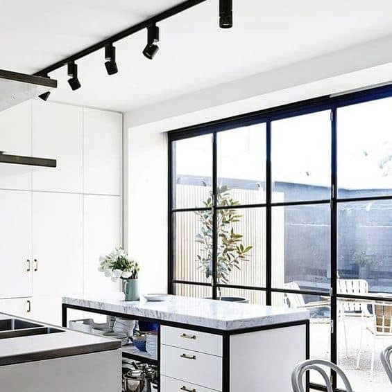 Exceptional White Kitchen Cabinets Black Track Lighting Ideas
