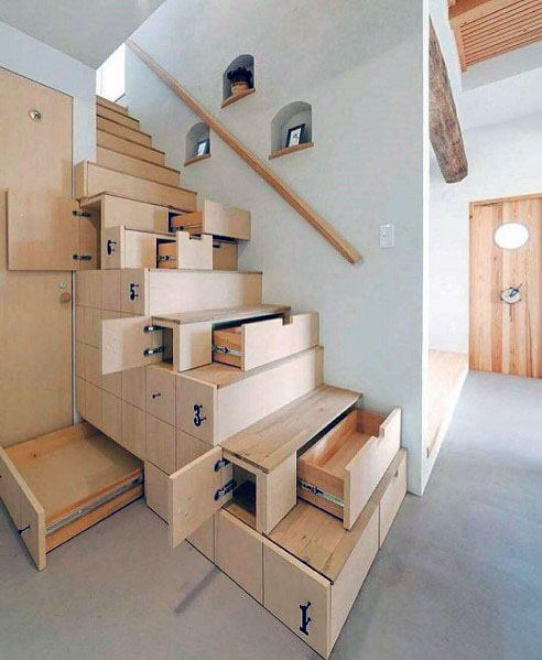 Exceptional Wood Stairs Ideas With Storage Drawers