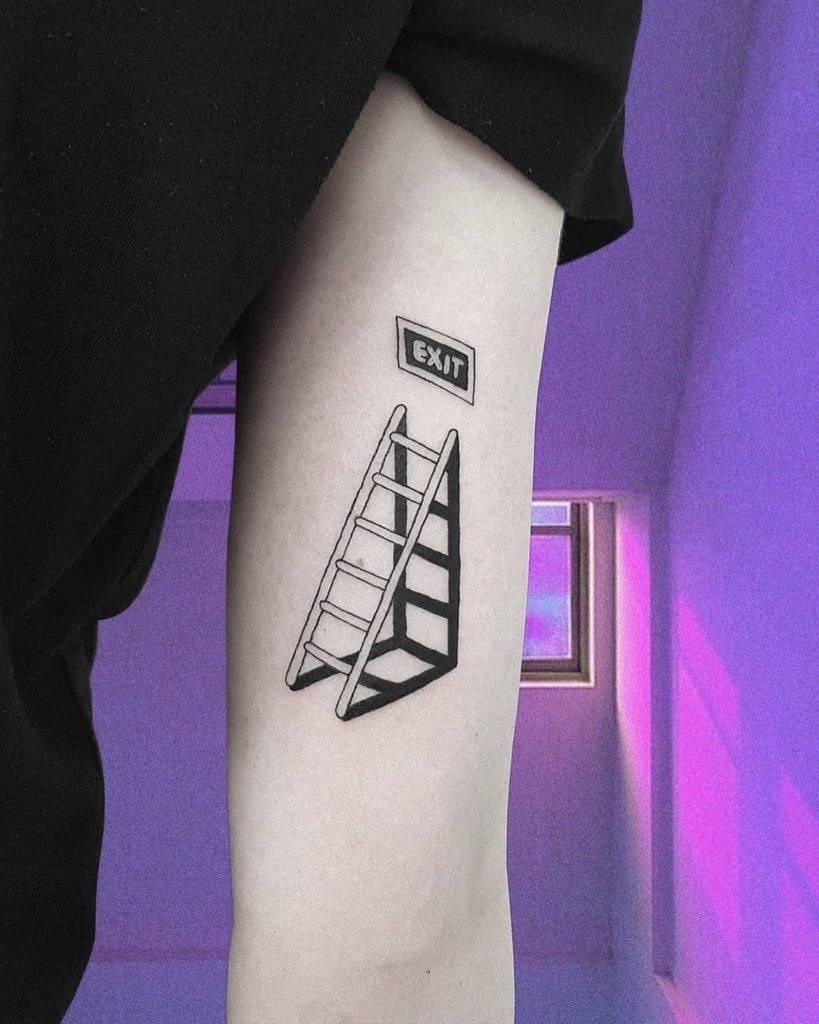 Exit Sad Art Black Work Tattoo