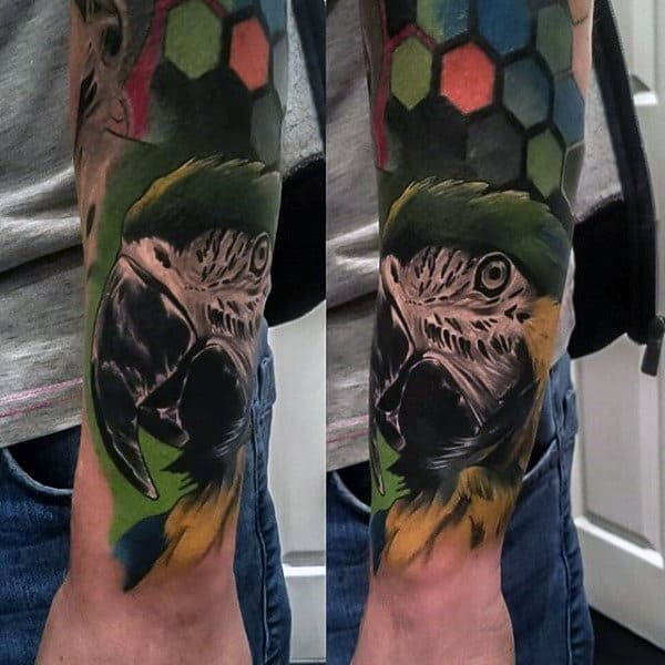 Exotic Bird Mens Colorful Forearm Sleeve Tattoo
