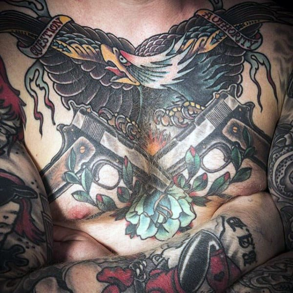 Exotic Eagle And Pistol Tattoo On Full Torso Male
