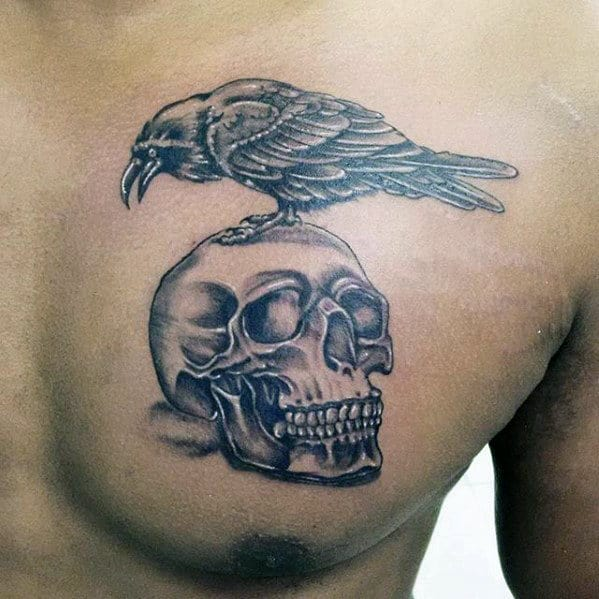 Expendables Mens Crow And Skull Upper Chest Tattoos