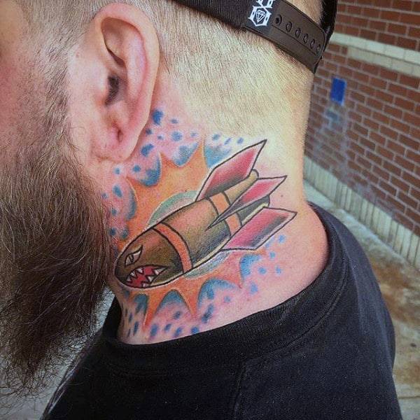 Exploding Bomb Tattoo Male Neck