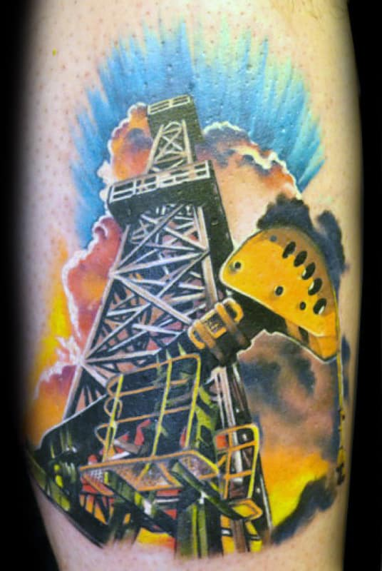 Exploding Oil Well Mens Oilfield Tattoo Designs On Arm