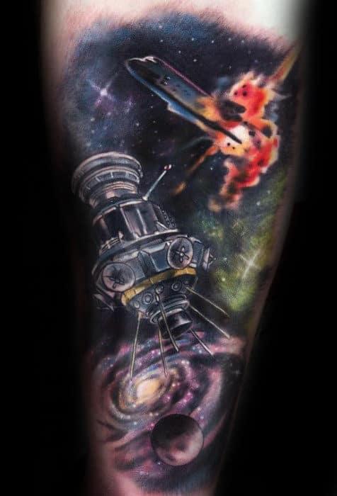 Exploding Spaceship Mens Forearm Sleeve Tattoo