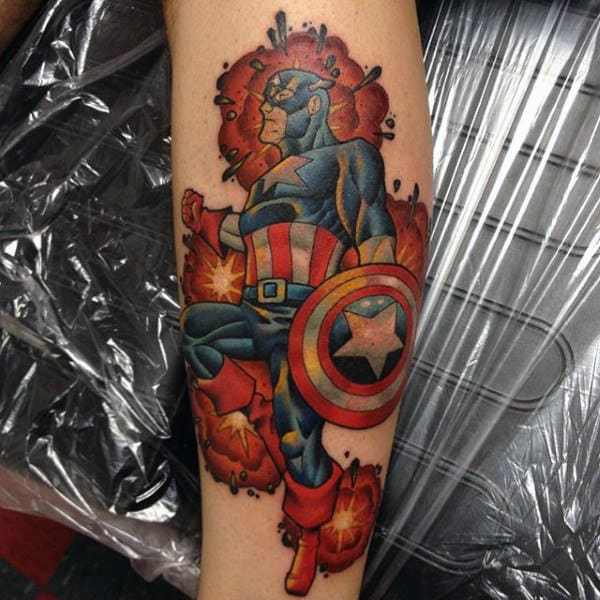 Explosion Captain America Leg Tattoo On Man
