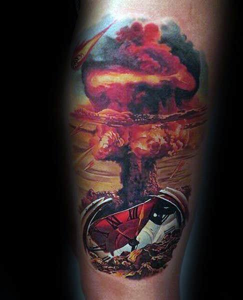 30 mushroom cloud tattoo designs for men atomic ink ideas
