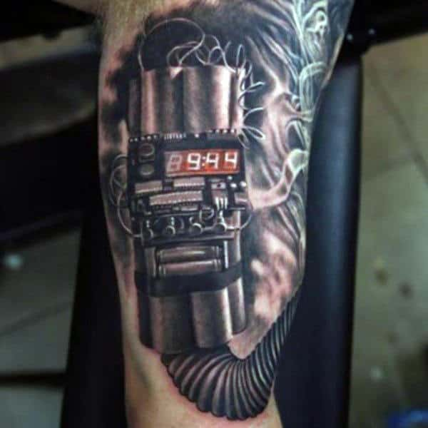 Explosive Inner Arm Bomb Tattos For Men
