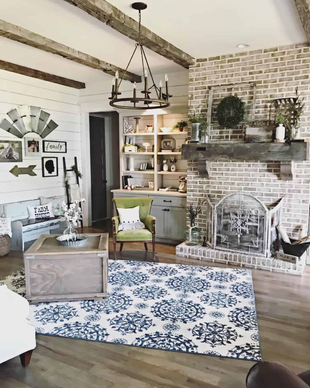Exposed Beams Farmhouse Living Room Ideas Mcpetersfarmhouse