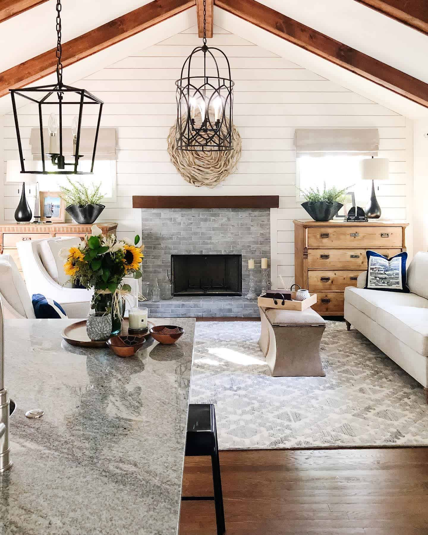 Exposed Beams Farmhouse Living Room Ideas Sgadesigns
