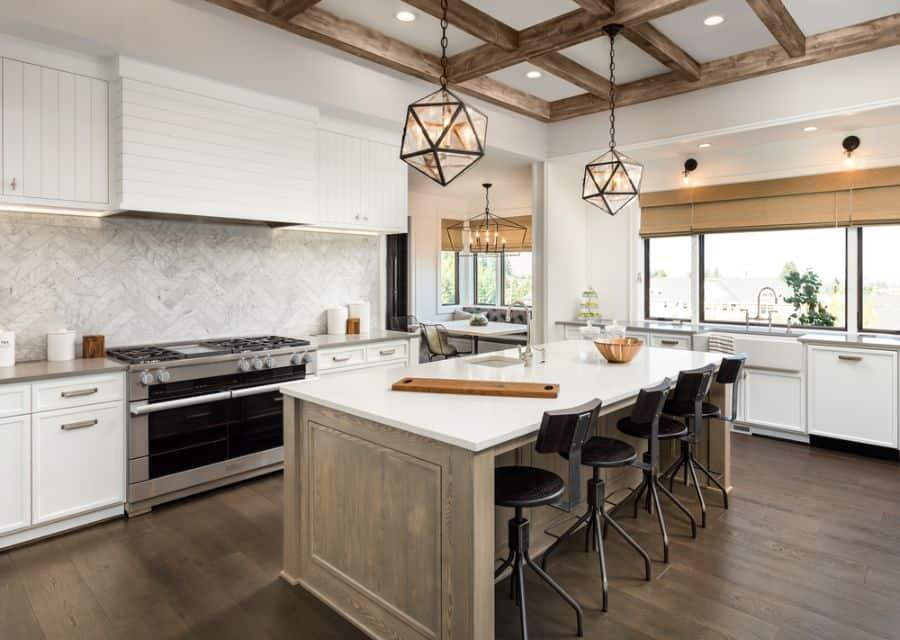 Exposed Beams Modern Farmhouse Kitchen 1