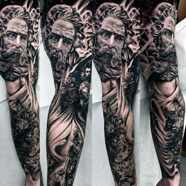 Extensive Greek Myth Tattoos On Arms For Men