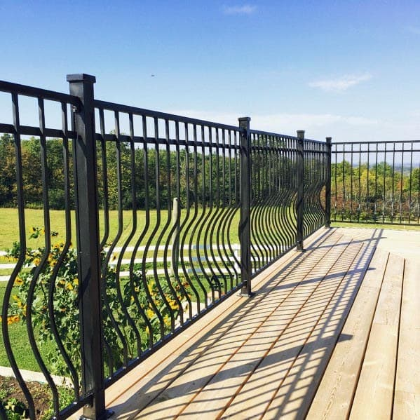 Top 70 Best Deck Railing Ideas - Outdoor Design Inspiration Railing Designs Exterior House Security on