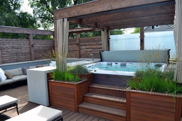 Exterior Designs Hot Tub Deck With Pergola Roof