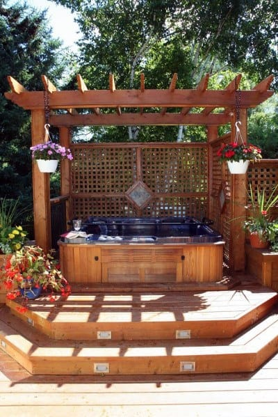 Exterior Ideas Hot Tub Deck With Wood Pergola Cover
