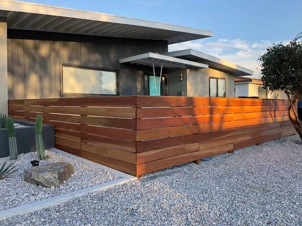 Exterior Modern Wood Fence Design Desert Landscaping