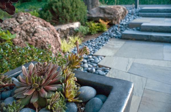 Exterior River Rock Landscaping Design
