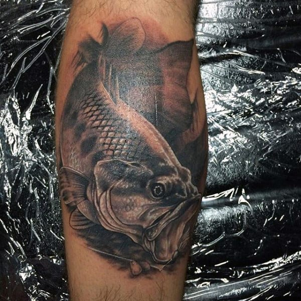 Extreme Black Bass Fish Manly Tattoo Inspiration