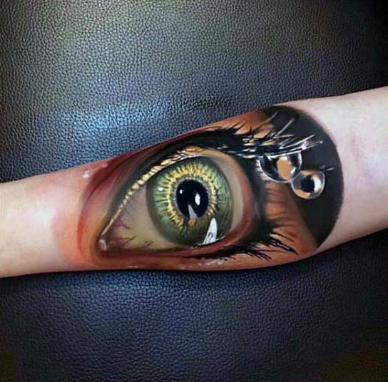 Extreme Realistic 3d Eye With Water Drop Tears Guys Inner Forearm Tattoo