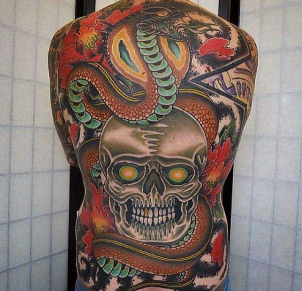 Extreme Skull And Snake Mens Full Back Old School Tattoo