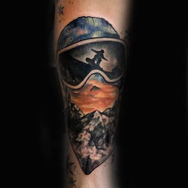 Extreme Snowboard Tattoo Male Forearms